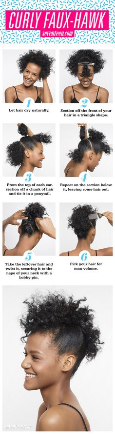 Curly Faux Hawk How To - Natural Hair Updo Tutorial - Seventeen