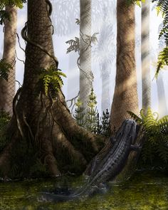 Diceratosaurus laevus. 310 million years ago. Late Carboniferous period. The territory of modern state of Ohio, USA. In the foreground of the water crept ancient amphibian diceratosaurus.
