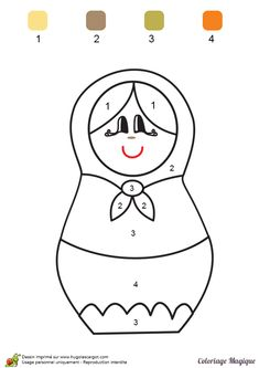 coloriage magique maternelle matriochka à imprimer sur hugolescargot.com School Coloring Pages, Colouring Pages, Indian Drawing, Paper Stars, Toddler Learning, Doll Crafts, Preschool Activities, Crafts For Kids, Quilts
