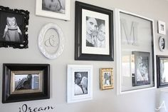 Living room with woodlawn colonial gray - Ask Anna Collage Picture Frames, Picture Wall, Wall Collage, Photo Wall, Wall Art, Light Grey Walls, Gray Walls, Grey Paint Colors, Gray Paint