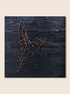 String Art Hummingbird art geometric wall art decor minimalist wall art modern wall art copper wire wall art bird nature wood wall art decor