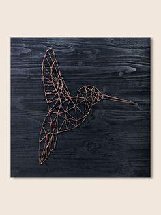 String Art Hummingbird art geometric wall art decor minimalist wall art modern wall art copper wire wall art bird nature wood wall art decor
