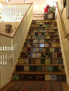 White Stuff Tiled Stairs: I May Use This Patchwork Idea For on Amazing Stairs Ideas 939 Unique Home Decor, Diy Home Decor, Wooden Floor Tiles, Tile Stairs, Wood Stairs, Beautiful Home Gardens, Beautiful Interior Design, Inspired Homes, Home Improvement Projects