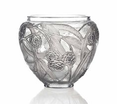 NÉFLIERS VASE, NO. 940 designed 1923, clear, frosted and grey stained stencilled R. LALIQUE
