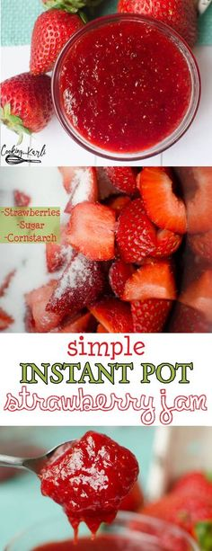 Instant Pot Strawberry Jam 2 0 is made of just three ingredients Strawberries sugar and cornstarch The strawberry flavor shines bright in this jam In… – Organics® Baby food Best Instant Pot Recipe, Instant Pot Dinner Recipes, Instant Pot Pressure Cooker, Pressure Cooker Recipes, Pressure Cooking, Canning Recipes, Crockpot Recipes, Tupperware Recipes, Jelly Recipes