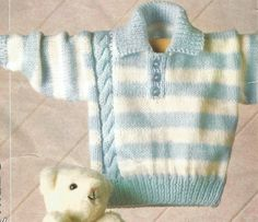 Knitting Pattern Babies ,Toddlers /Children's Striped Jumper/Sweater with Side Cable DK/Worsted/8 Ply size 16-24in 41-61cm