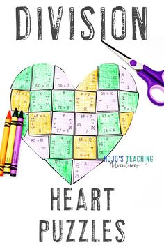 If you're on the lookout for some more math practice this February, you're going to love these division heart puzzles. Use them with your 3rd, 4th, or 5th grade upper elementary or home school students. Great for review, math centers, stations, activities, to decorate a bulletin board, make a Valentine's Day card, and more. Click through to see how you can use these with your third, fourth, or fifth graders. Check out the FREE download too! #HoJoTeaches #ValentinesDay