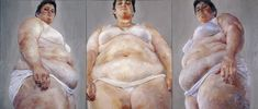"""Jenny Saville   Strategy (South Face/Front Face/North Face) 1993-94 Oil on canvas (triptych) 274 x 640 cm 108 x 252"""""""