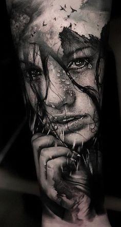dazzling double exposure tattoo tattoo artist Thomas Carli Jarlier Ÿ diy tattoo - diy Girl Face Tattoo, Face Tattoos, Best Sleeve Tattoos, Leg Tattoos, Body Art Tattoos, Tattoos For Guys, Cool Tattoos, Realistic Tattoo Sleeve, Sleeve Tattoo Designs