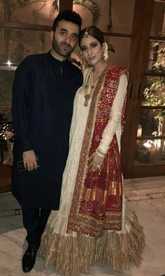 Bride and groom on their dholki ( bride is wearing misha lakhani dress and bunto kazmi duppata ) Wedding Outfits For Women, Pakistani Wedding Outfits, Bridal Outfits, Pakistani Dresses, Indian Dresses, Indian Bridal Wear, Indian Wear, Ethnic Outfits, Indian Outfits