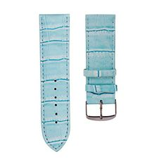 AMA(TM)24mm Genuine Leather Waterproof Watch Band Strap Fit All Watches Blue
