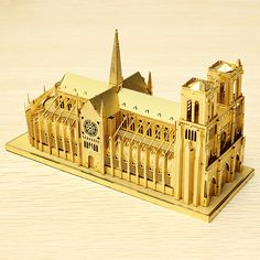 Cut Láser Piececool Notre Dame de París DIY 3D Modelos Puzzle