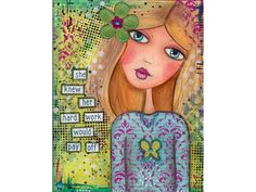 Mixed Media Art Print #3 Whimsical Girl  4x6, 5x7, 8x10, Greeting Cards - pinned by pin4etsy.com