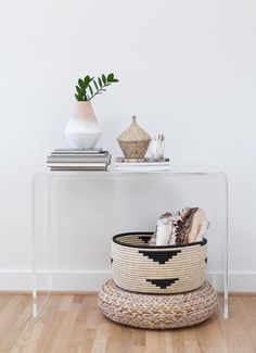 African baskets for hint of boho chic in this minimalistic room                                                                                                                                                     More