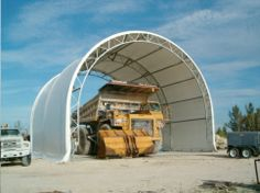 http://ShelterStructures.com The half circle is the least expensive, strongest design available.  It is literally a half circle – the height is half the width.  Shoulder room lost on the sides can be regained by choosing an Extended Height Quonset, which includes some straight legs on the sides to increase usable side space.