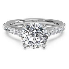 Ritani French-Set Diamond Engagement Ring Setting (1,615 CAD) ❤ liked on Polyvore featuring jewelry, rings, band rings, white ring, ritani rings, diamond band ring and round ring
