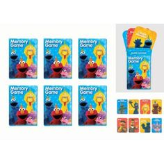 Test your memory skills! Sesame Street Memory Match Games feature your favorite Sesame Street characters printed on mini cards. Simply place cards face down and have players take turns turning two cards over at a time to make a match! These Sesame Street games make great party favors and prizes.  Sesame Street Memory Match Games product details:  6 per package 16 cards per package 1 3-4in wide x 2 1-2in tall Paper  Not for children under 2 years.