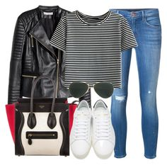 """""""Style #11373"""" by vany-alvarado ❤ liked on Polyvore featuring H&M, J Brand, CÉLINE, Yves Saint Laurent and Ray-Ban"""