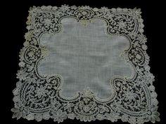 "Antique Romantic Fine Handmade Brussles Mixed Lace Wedding Handkerchief 14"" | eBay"