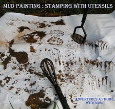 Mud stations provide much more than just pretend cooking and mud pies. Have you ever tried Mud painting? It is pretty effective and I a. Forest School Activities, Eyfs Activities, Nursery Activities, Nature Activities, Activities For Kids, Outdoor Activities, Activity Ideas, Outdoor Education, Outdoor Learning