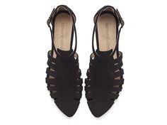 Alice, Black shoes, Flats, Leather Sandals