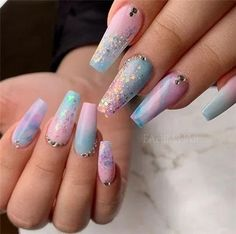 Think we found our Easter nails 🐇 Beautiful pastel combo by YN Mentor Sara Fahim.nail Create this look using Blushing Girl and Peek-a-Blue… Easter Nail Designs, Ombre Nail Designs, Acrylic Nail Designs, Nail Art Designs, Coffin Nails Designs Summer, Gender Reveal Nails, Fire Nails, Easter Nails, Young Nails