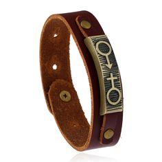 2017 New design fashion Brown Leather Bracelets Sex Symbols Lover's Bracelet  23cm Studded Wrap Bracelet valentine's day gifts