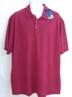 NIKE FitDry Mens S/S Mesh Polo Golf Shirt XL Burgundy NEW #NIKE #PoloShirt