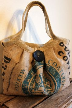 bag made from burlap coffee sack