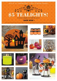 Fall/Halloween PartyLite® Candle Sale! Shop online now! Direct shipping to your door. #homedecor #halloween #candles #DIY #Fall #coupon  http://www.partylite.biz/sites/nikkihendrix