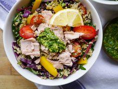 Tuna with Pesto Quinoa Salad by Nourish Everyday - a healthy, gluten free and…