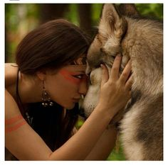 Native with a wolf