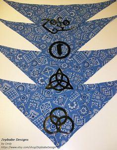 Led Zeppelin Four Symbols BLUE Small Pet Bandana by ZepbabeDesign