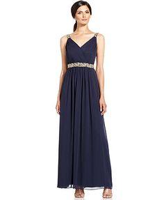 Calvin Klein Dress, Sleeveless Beaded Empire-Waist Gown