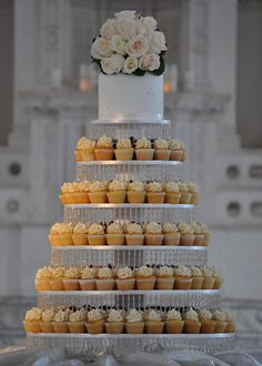 Wedding Cupcake Tower - Easy transport, more variety of flavours, laser cut wrappers, bonbonniere