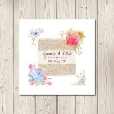 Rustic Floral Watercolour Pocketfold Wedding Invitations 1