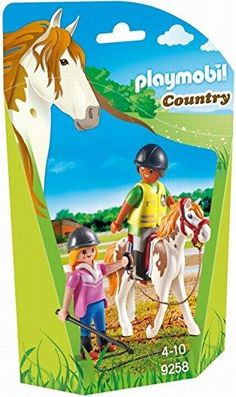The Playmobil Riding Instructor is the perfect set for equestrian fans. The pupil sits upon a white skewbald horse in full safety equipment including hat and hi vis Jacket. The teacher uses the lead rope to lead the horse around and educate her keen student.Not suitable for children under 3 years of age due to the dangers of suffocation caused by small parts. Perfect set for equestrian fans Pupil with full safety equipment including hat and hi vis vest Includes two Playmobil figures Lead… Play Mobile, Pony Party, Playmobil Country, Ogc Nice, Lead Rope, Comic, Baby Born, Equestrian, Kids Toys