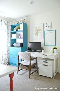 Mission Office Overhaul Complete! http://www.heytherehome.com/shared-office-craft-room-reveal/