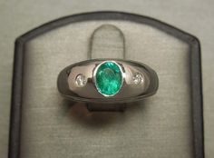 Men's Vintage Estate c1960 Platinum 0 85TCW Emerald Diamond Gypsy Ring Sz 9 5 | eBay