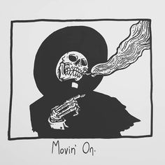 Movin' On. Photographie Street Art, Matt Bailey, Movin On, Skeleton Art, Dark Art Drawings, Flash Art, Skull Art, Inktober, Art Inspo