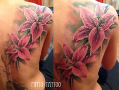 Pink lily flower tattoo - realistic, colour. By Pimto.