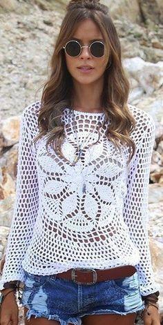 Fabulous Crochet a Little Black Crochet Dress Ideas. Georgeous Crochet a Little Black Crochet Dress Ideas. Crochet Bolero, Pull Crochet, Crochet Tunic, Love Crochet, Crochet Clothes, Crochet Lace, Knitting Patterns, Crochet Patterns, Crochet Woman