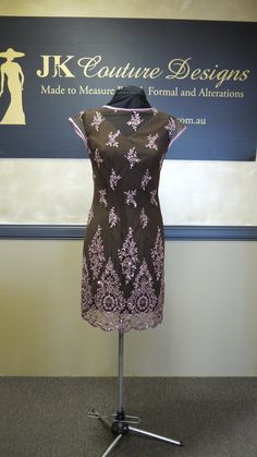 Jenny  Dusty Pink Sequin and Brown Dress by JKCoutureDesigns, $799.00