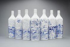 Johnnie walker bottles all dolled up