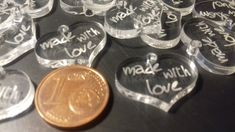 (479) Lotto ciondolini cuore MADE WITH LOVE in plexiglass trasparente, by Outlet ciondoli per creare, 9,90 € su misshobby.com