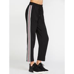 Black Side Striped Drawstring Waist Sweatpants ($18) ❤ liked on Polyvore featuring activewear, activewear pants, black and sweat pants