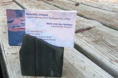 Taconite Rock Business Card Holder Recipe by Naturallyuniquerock, $8.50. It's also magnetic because it's iron ore!