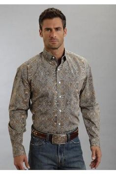 Highland Paisley Print On Poplin Stetson Mens Collection - Spring Ii Long Sleeve Urban