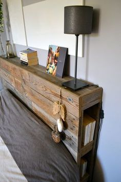 Headboard with shelves and small storage on each side … The post How to Decorate Your Bedroom With A Gray Wood Bed Frame appeared first on Wood Decoration Palette. Pallet Furniture, Bedroom Furniture, Furniture Ideas, Furniture Stores, Home Bedroom, Bedroom Decor, Bedrooms, Bedroom Ideas, Headboard Designs