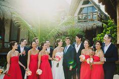 Tulum wedding / beach photographs / tulum Mexico destination wedding / Ariel Renae | Destination Wedding Photographer / elegant / classic / timeless / romantic / bridal party coral bridesmaid dresses / custom suits
